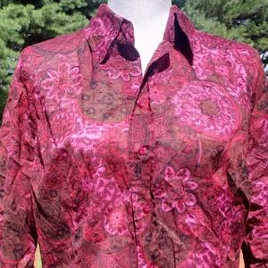 Coldwater Creek pink red black button up blouse M